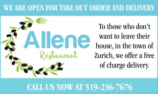 We Are Open For Take Out Order And Delivery