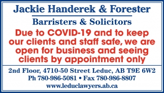 Due To COVID-19 And To Keep Our Clients And Staff Safe, We Are Open For Business And Seeing Clients By Appointment Only.