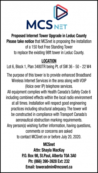 Proposed Internet Tower Upgrade In Leduc County