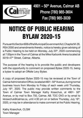 Notice Of Public Hearing Bylaw 2020-15