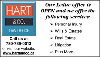 Our Leduc Office Is OPEN And We Offer The Following Services