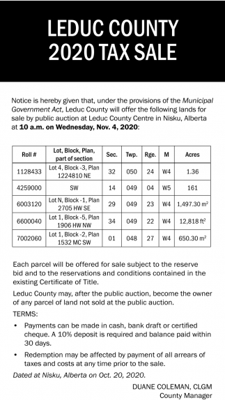 Leduc County 2020 Tax Sale
