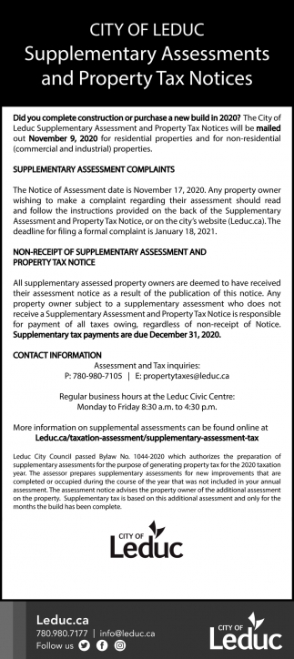 Supplementary Assessments And Property Tax Notices