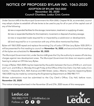 Notice Of Proposed Bylaw No. 1063-2020