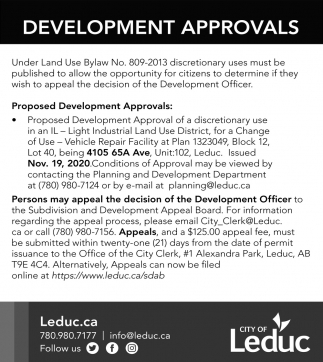 Development Approvals