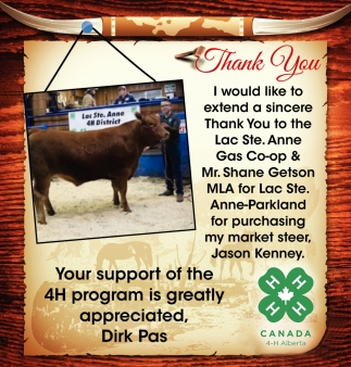 Your Support of the 4H Program is Greatly Appreciated, Dirk Pas