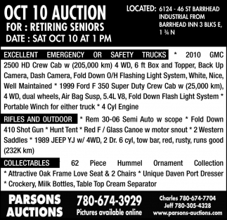 Oct 10 Auction