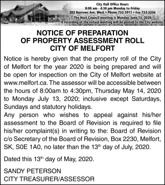 Notice Of Preparation Of Property Assessment Roll