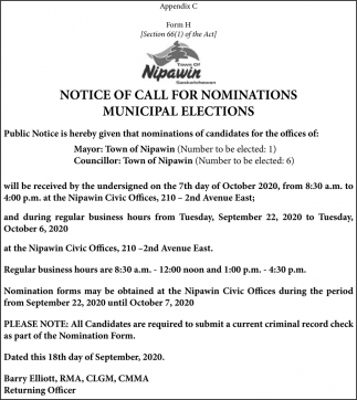 Notice Of Call For Nominations Municipal Elections
