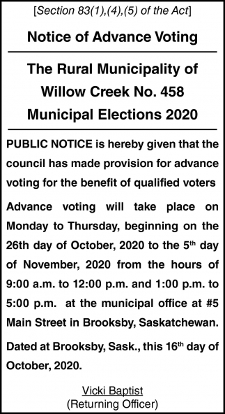Notice Of Advance Voting