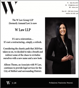 The W Law Group LLP (Formerly Annand Law) Is Now W Law LLP