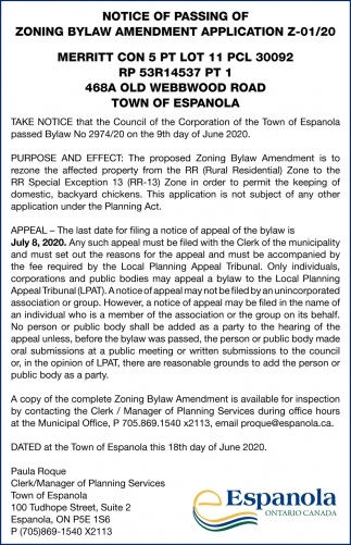 Notice Of Passing Of Zoning Bylaw Amendment Application Z-01/20