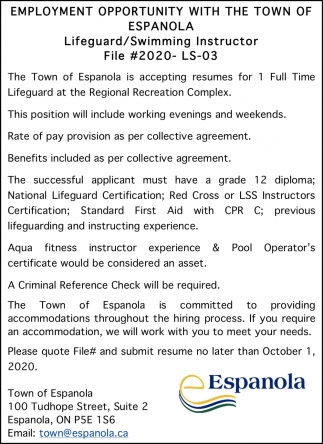 Employment Opportunity With The Town Of Espanola