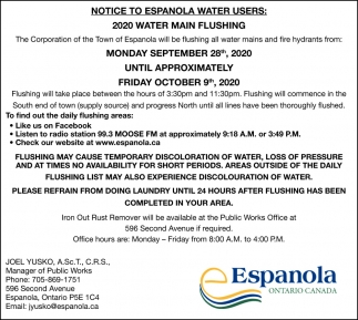 Notice To Espanola Water Users