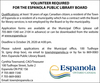 Volunteers Required For The Espanola Public Library Board