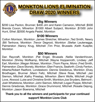 Monkton Lions Elimination Draw 2020 Winners