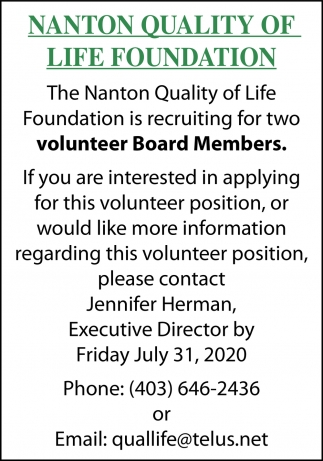 The Nanton Quality Of Life Foundation Is Recruiting For Two Volunteer Board Members