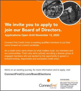 We Invite You To Apply To Join Our Board Of Directors