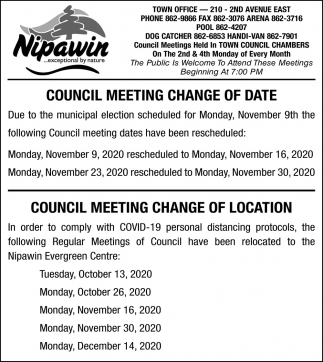 Council Meeting Change Of Date