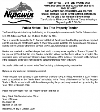 Public Notice - Tax Title Property Tender