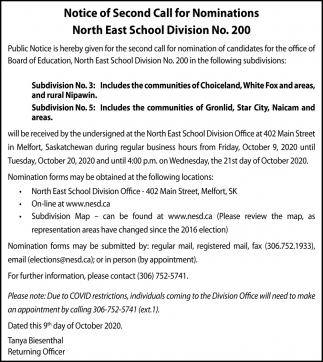 Notice Of Second Call For Nominations