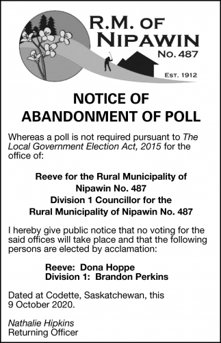 Notice Of Abandonment Of Poll