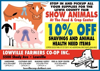 10% Off Shavings And Animal Health Need Items