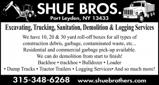 Excavating, Trucking, Sanitation & Logging Services