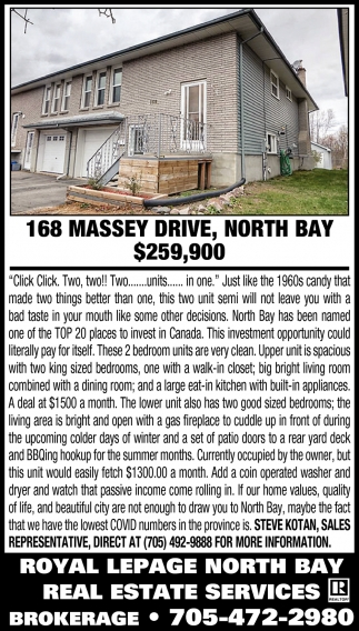 168 Massey Drive, North Bay $259,900
