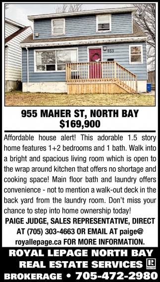955 Maher St, North Bay $169,900