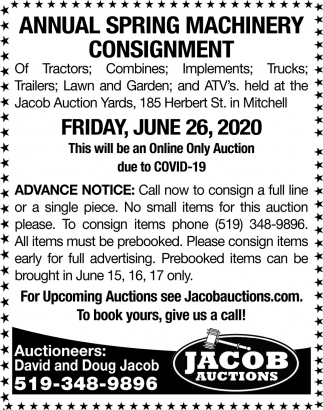 Annual Spring Machinery Consignment