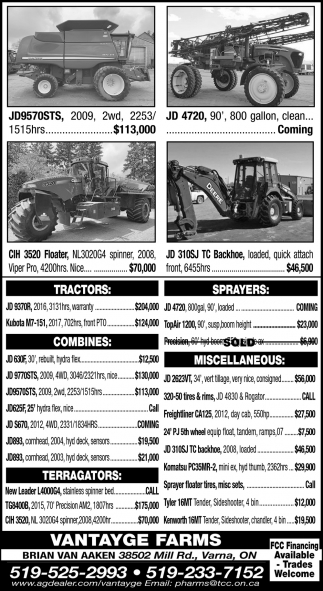 Tractors - Sprayers - Combines - Terragators - Miscellaneous