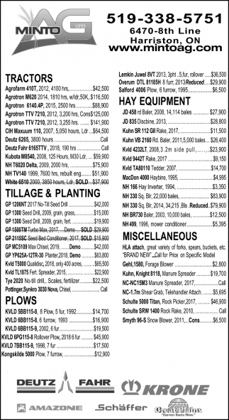 Tractors - Hay Equipment - Tillage & Planting