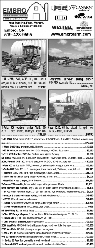 Your Stabling, Feed, Manure, Grain & Equipment Dealer0
