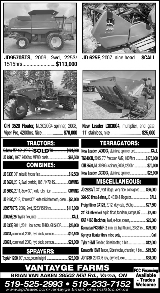 Tractors - Terragators - Combines - Miscellaneous
