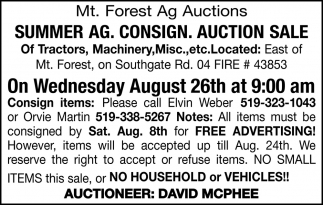 Summer AG. Consign. Auction Sale