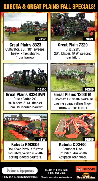 Kubota & Great Plains Fall Specials!