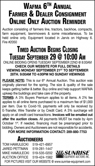 Wafma 6th Annual Farmer & Dealer Consignment Online Only Auction Reminder