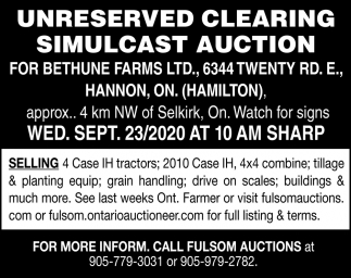 Unreserved Clearing Simulcast Auction