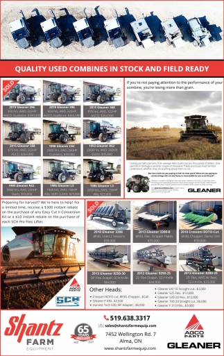 Quality Used Combines IN Stock And Field Ready