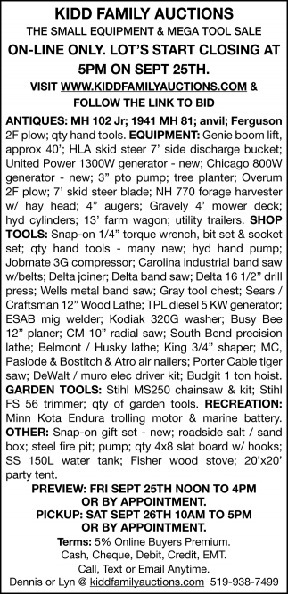 The Small Equipment & Mega Tool Sale