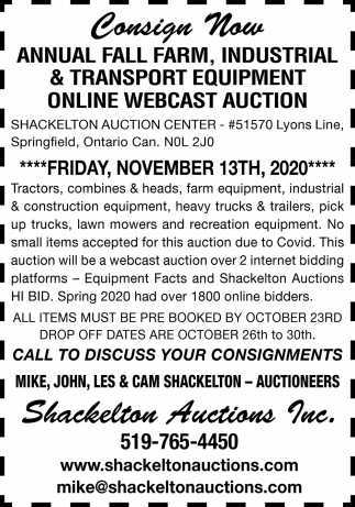 Annual Fall Farm, Industrial & Transport Equipment Online Webcast Auction