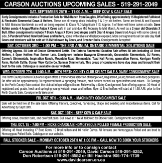 Carson Auctions Upcoming Sales