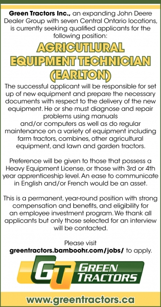 Agricultural Equipment Technician (Earlton)