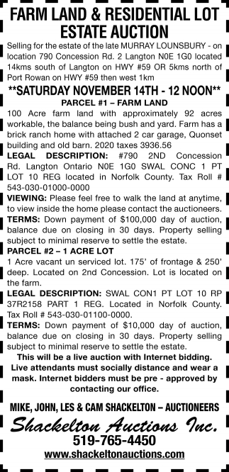 Farm Land & Residential Lot Estate Auction