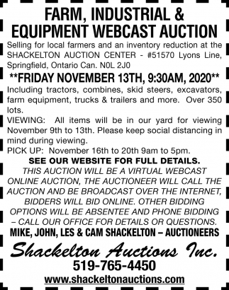 Farm, Industrial & Equipment Webcast Auction