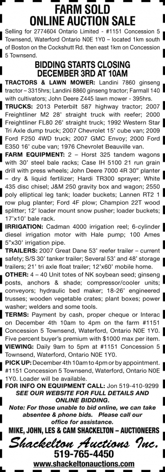 Farm Sold Online Auction Sale