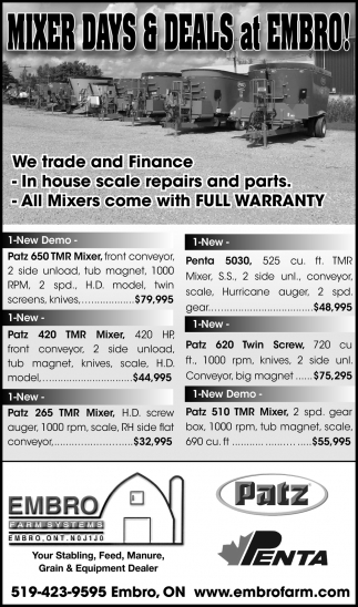 Mixer Days & Deals At Embro!