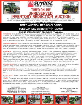 Timed Online Unreserved Inventory Reduction Auction
