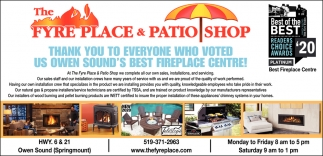 Thank You To Everyone Who Voted Us Owen Sound's Best Fireplace Centre!